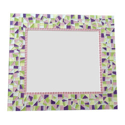 Green Street Mosaics - Mosaic Wall Mirror, Pink Purple Green Yellow, Nursery Decor - This pink, purple, green, and yellow mosaic wall mirror would be the perfect addition to your nursery decor. The lime green and purple glass mosaic tiles pop, while the pink, white, and yellow tiles accent the bright colors.