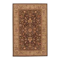 """Nourison - Nourison Heritage Hall HE05 3'9"""" x 5'9"""" Brown Area Rug 03759 - Traditional Persian beauty meets modern decor in a design at once delicate and bold. Rich mocha brown sits in glorious contrast to a wide golden border that can barely contain the exuberant floral motifs that make this lustrous rug such a pleasure."""