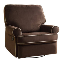 PRI - PRI Birch Hill Swivel Glider Recliner in Stella - PRI - Gliders & Rockers - DS913006178 -   Our recliners offer outstanding comfort and styling. Soft easy to clean fabric cover is over a solid plywood frame for durability. Padded backs arms and sides make our recliners a step above the rest. Lever recline mechanism is attached to an all metal reclining mechanism that is smooth and easy to operate.