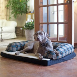 Beasleys Couch Dog Bed - Teal Pawprint Plaid - Finally your dog can have the couch all to himself. The Beasleys Couch Dog Bed - Teal Pawprint Plaid brings maximum comfort to your pet in a style you won't mind having right in the living room. This is the original couch design pet bed offering the award winning combination of style and comfort. It features a thick hypro-loft fiber-filled liner and a durable Sherpa cover. The overstuffed bolster sits up around the bed to provide firm support with the hypro-loft poly fill and an exclusive blend of virgin and recycled fibers that provide unmatched loft retention. This bed will not shift or mat. It keeps its shape through repeated washing and under heavy or extended use.Small dog bed dimensionsExternal: 25L x 20W inchesInternal: 17L x 16W inchesMedium dog bed dimensionsExternal: 33L x 25W inchesInternal: 25L x 21W inchesLarge dog bed dimensionsExternal: 40L x 30W inchesInternal: 30L x 24.5W inchesExtra large dog bed dimensionsExternal: 54L x 34W inchesInternal: 39L x 28W inches
