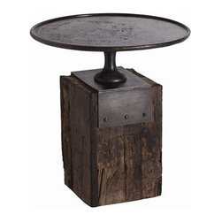 Arteriors Home - Arteriors Home Anvil Cast Iron/Reclaimed Wood Side Table - Arteriors Home DD2028 - Arteriors Home DD2028 - Memories of his grandfather's Tennessee barn inspired the marriage of the wood block base of his anvil and shapes of vintage 19th century cake stands. Maintaining Arteriors' continued commitment to ecological awareness, they found artisans who work in reclaimed wood and hand forged metal to capture the authentic nature of Barry Dixon's design.