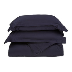 """530 Thread Count Egyptian Cotton King/Cal-King Navy Blue Solid Duvet Cover Set - Our 530 Thread Count Duvet Cover Set offers the ultimate softness of a lower thread count. They are composed of premium, long-staple cotton and have a """"Sateen"""" finish as they are woven to display a lustrous sheen that resembles satin. Set includes: (1) Duvet Cover 92""""x106"""" & (2) Pillow Shams 20""""x36"""" each."""