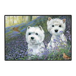 270-Westie Bluebells Doormat - 100% Polyester face, permanently dye printed & fade resistant, nonskid rubber backing, durable polypropylene web trim on the porch or near your back entrance to the house with indoor and outdoor compatible rugs that stand up to heavy use and weather effects