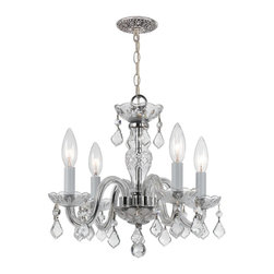 Crystorama - Crystorama Traditional Crystal 1 Tier Chandelier in Chrome - Shown in picture: Clear hand cut crystals with Chrome metal accents; Traditional crystal chandeliers are classic - timeless - and elegant. Crystorama�s opulent glass arm chandeliers are nothing short of spectacular. This collection is offered in a variety of crystal grades to fit any budget.