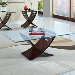 Wildon Home � - Elhan Coffee Table Set - Features: -Temper glass.-Solid wood leg.-Set includes coffee table and two side table.-Cherry finish.-Distressed: No.Dimensions: -Dimensions: 19'' H x 26'' W x 48'' D.-Overall Product Weight: 108 lbs.