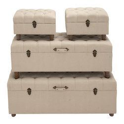 Contemporary Styled Wood Fabric Trunk, Set of 4 - Description: