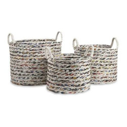 Anise Recycled Magazine Baskets - Set of 3 - Woven by skilled artisans, this set of three baskets are made from recycled magazine paper and rope to create graphic designs and sturdy containers.