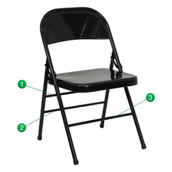 Flash Furniture - Flash Furniture Hercules Series Metal Folding Chair -Black - When in need of temporary seating this heavy duty all steel black metal chair by Flash Furniture is perfect. This portable folding chair can be used for parties, graduations, sporting events, school functions and in the classroom. This chair will be the perfect addition in the home when in need of extra seating to accommodate guests. The chair will not take up anywhere near as much space as chairs that cannot fold when it comes time to clean up. This economically priced chair will endure some heavy usage with an 18-gauge steel frame, triple braced and leg strengthening support bars. [HF3-MC-309AS-BK-GG]
