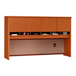 """Bush Business - Auburn Maple Hutch w 4 Doors for 72 in. Desk/ - The Series C Auburn Maple Hutch with 4 Doors for 72 inch Desk/Credenza provides abundant concealed storage!  This attractive, 43 inch tall hutch features a fully finished back panel, includes a fabric-covered tackboard and accepts a pair of optional task lights. * Mounts on two adjacent Lateral Files. Mounts on any 71"""" wide desk or combination. Includes fabric-covered tackboard. Fully finished back panel. Accepts two task lights (not included). Four doors conceal entire upper storage area. European-style, self-closing, adjustable hinges. 70.984 in. W x 15.354 in. D x 42.992 in. H"""