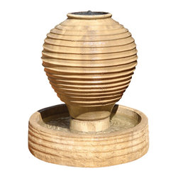 Ripple Vase Outdoor Fountain, Sierra - This modern ripply fountain is suited for a business or a home. Compliment it by surrounding the fountain with plants or flowers.