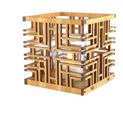 """Lightwave Laser - Frank Lloyd Wright Millard House Design Hardwood Votive - This beautiful new Frank Lloyd Wright Alice Millard House design hardwood votive is precision laser cut for quality of finish and design accuracy. It includes a glass votive holder and flameless tea light. Enjoy the understated mood lighting of a tea light without the risk of fire. Also works well as a bedside table night light. The tea light candle has an LED light source to replicate the effect of a yellow flicker flame. Battery included. Dimensions: 3.75"""" square."""