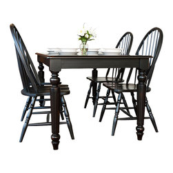 Carolina Cottage - 5 Pc. Dining Table & Windsor Chairs Set in Antique Black Finish - Includes dining table and 4 chairs. Rectangular table can seat 5 - 6 people and features beautifully detailed turned legs. Beautiful 3 step hand finish with rubbed edges for a worn unique look. Made from 100% solid select Asian hardwood chairs. Easy to clean durable finish. Assembly required. Table: 60 in. W x 36 in. D x 30 in. H (90 lbs.). Chairs:. Seat dimensions: 17.75 in. W x 17.75 in. D x 17.25 in. H. Total: 16.5 in. W x 19 in. D x 40.5 in. H (18 lbs.)