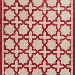 Jaipur Rugs - Moroccan Pattern Polyester Red/Taupe Indoor-Outdoor Area Rug ( 2x3 ) - These Catalina rugs will add a pop to any outdoor space with its rich inspiration from Moroccan trellis and tile patterns.