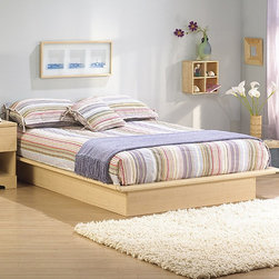 South Shore - Copley Collection Platform Bed - South Shore's stylish and family-friendly furniture is made of laminated engineered wood, which gives it great strength and durability. They use wood panels entirely made from recovered and recycled material. While they do their share to preserve the environment by conserving our forests, South Shore Industries makes no compromise when it comes to quality and product durability. These quality products are designed for easy maintenance and offered at very competitive prices. This platform bed features a sleek design, which adds a simple yet sensational allure to any bedroom. Create that comfortable and contemporary bedroom you always dreamed of. This platform bed will go with any other pieces from our collections in the same finish. Features: -No headboard.-Sleek lines for a contemporary style.-The moldings of the platform bed have profiled edges that help the mattress to stay in place.-Rounded corners for increased safety.-No box spring required.-In order to reduce the risks of damage to a minimum during shipment of your furniture, our packaging is ISTA 3A certified.-Manufactured from eco-friendly, EPP-compliant laminated particle board carrying the Forest Stewardship Council (FSC) certification.-Made of non-toxic materials and components.-Constructed of particleboard with a laminate finish.-Natural maple finish.-Headboard in Copley collection is not compatible with platform bed.-Protecting our Environment for Generations to Come!South Shore Furnitureis proudly taking a stand on its environmental positioning and is supporting its words with very concrete actions and a vision for a healthy future. Current actions include:Improved packaging Our new packaging use 60% less non-biodegradable materials.Energy efficiency Yearly, 5 to 6 tons of wasted paneling are converted into energy used internallyEnvironmentally Preferable Product (EPP) certification Already meeting the very strict 2009 California Formaldehyde RegulationsGreener communication tools Reduced format on recycled paper and conversion to electronic formatA Green Future in mind: a member of the Composite Panel Association whose mission is to work towards more ecological and environment-friendly panel solutions..-Distressed: No.-Collection: Copley.-Country of Manufacture: Canada.Dimensions: -Overall Product Weight: 120 lbs..Warranty: -5-year manufacturer's limited warranty.