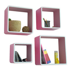Blancho Bedding - [Sweety Pink] Square Leather Wall Shelf / Bookshelf / Floating Shelf (Set of 4) - These rounded corner wall cube shelves add a new and refreshing element to your room and can be easily combined with other pieces to create a customized wall space. Coming in various colors and sizes, they spice up your home's decor, add versatility, and create a whole new range of storage spaces. You can hang them on the wall, or have them stand on table or floor, any way you like. Fashion forward design has never been so functional. This range of faux leather storage cubes is sure to delight! Perfect for wall mounting, these modern display floating shelves are sure to delight. Constructed from MDF with a top faux leather wrapping. Easy to mount, easy to love! Attractive shelf boxes give any wall in your home a striking appearance. Arrange in whatever fashion you like - whether it be grouped together or displayed separately. Each box serves as a practical shelf, as well as a great wall decoration.