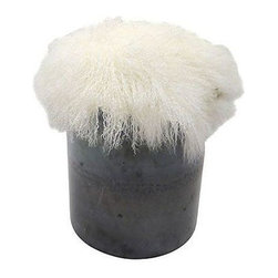 Pre-owned Circle Ottoman - This custom made and designed cylinder ottoman with a rugged metal base and super-soft sheepskin top in arctic white marries Industrial and Rustic styles.