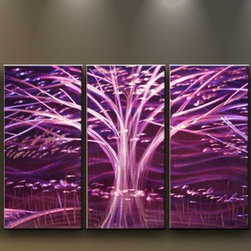 Matthew's Art Gallery - Metal Wall Art Modern Sculpture 5 panels Tree Purple Night - Name: Purple Night