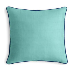 Aqua Outdoor Pillow with Navy Cord - PRODUCT DETAILS: