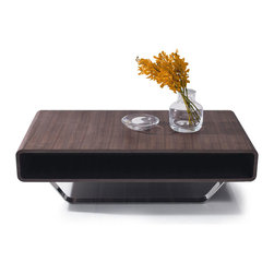 CONTEMPORARY WALNUT VENEER RECTANGULAR COFFEE TABLE OZU - Coffee table Ozu features a natural walnut wooden veneer mounted on a chromed stainless steel base. Ecologically modern style.
