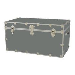 Rhino - Toy Trunk - Silver (Extra Extra Large) - Choose Size: Extra Extra LargeWheels are not included. Includes two nickel plated steel universal wheel adapter plates. Wheel adapter plates mounted on side of the trunk. American craftsmanship. Several obscure ventilation holes to provide plenty of air should your child ever go into the trunk and have someone close it on them. Strong hand-crafted construction using both old world trunk making skills and advanced aviation rivet technology. Steel aircraft rivets are used to ensure durability. Heavy duty proprietary nickel plated steel latches and hardware. Heavy duty nickel plated steel lid hinges plus lid stays for keeping lid propped open. Tight fitting steel tongue and groove lid to base closure to keep out moisture, dirt, insects, odors etc.. Stylish lockable nickel plated steel trunk lock has loop for attaching padlock. Discrete ventilation holes. Special soft-close lid stay. Nylon cordura exterior laminate. Lifetime warranty. Made from 0.38 in. premium grade baltic birch hardwood plywood with nickel-plated steel hardware. Large: 32 in. W x 18 in. D x 14 in. H (29 lbs.). Extra large: 36 in. W x 18 in. D x 18 in. H (36 lbs.). Jumbo: 40 in. W x 22 in. D x 20 in. H (67 lbs.). Super jumbo: 44 in. W x 24 in. D x 22 in. H (69 lbs.)Safety First! A superior quality, heavy-duty toy trunk that¢s designed for a child¢s well-being, yet looks handsome in any room. Toy Trunk is constructed from the highest quality components. This treasure chest incorporates several safety features to insure that it¢s child friendly. Those include small ventilation holes should a child ever decide to climb in and take a nap, as well as specially designed, American made soft-close lid stays. The lid stays keep the lid from slamming shut. In fact, the lid will only close if you push it down. This will keep small hands protected. Also, the toy trunk will not lock on its own. Toy Trunk are conveniently sized and ruggedly built. They¢re strong enough to stand on! Best of all, these advanced design wheels do not add any extra height to the trunk. Even with the wheels on, the trunk is stackable.