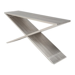 "Nuevo Living - Amici Prague Console Table - ""X"" marks the spot! You'll want to pick the perfect place for this subtle stainless steel console table. Complete your contemporary foyer with its unique urban and industrial flavor, or add some greenery to the tabletop and use it outdoors."