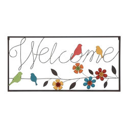 Benzara - Wall Sign with Modern or Casual Style and Simple Frame - Welcome your guests with style with this chic wall sign! Elegant and attractive, this metal wall sign is sure to add a touch of finesse to your living space settings. This charming Welcome' wall sign can be added to all modern or casual style home spaces for a stylish appeal. An ideal addition to the name plaque outside your home or at entryways, this wall sign exemplifies urbane finesse. Designed from high-quality metal, this wall sign has a sturdy, durable design and promises long-lasting usage for years to come. This wall sign features a simple frame which encloses the  in. welcome in.  sign in attractive lettering. Detailed with attractive and intricate floral and bird motifs, this wall sign has a multicolored pattern which enhances decor aesthetics for a vivacious appeal. The flowers and birds motifs liven up your home decor with its effervescent appeal.
