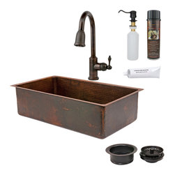 "Premier Copper Products - 33"" Copper Kitchen Sink w/ ORB Faucet - PACKAGE INCLUDES:"