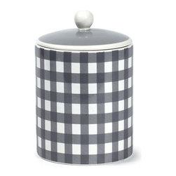 Grey Livia Storage Jar - Medium grey and white check storage jar. Dishwasher and microwave safe.
