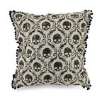 Zeckos - Bethany Lowe Damask Skulls Throw Pillow with Ball Fringe Trim 14 In. x 14 In. - This wallpaper inspired damask skull throw pillow, by Bethany Lowe Designs, brings a touch of elegant macabre style to accent your sofa, dining room or bed, and is a wonderful addition to your Halloween decor. Measuring 14 inches long by 14 inches wide (36 x 36 cm), it's designed to look vintage with decorative ball fringe trim around the edges. The cotton duck cloth cover has a zipper on the bottom to easily remove the 100% polyester insert, and is recommended to hand wash in warm water, air dry, medium iron and makes a great gift for a Halloween loving friend