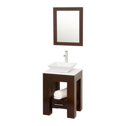 "Wyndham Collection - Wyndham Amanda Vanity Set 22"" Espresso - Introducing the beautiful and unique Amanda bathroom vanity. This fresh design showcases style and versatility in a slim space, with an open storage area for towels, baskets, and other toiletries, and a drawer for other accessories. It's the perfect powder room vanity."