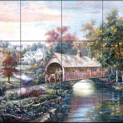The Tile Mural Store (USA) - Tile Mural - Cv - Pheasant River Bridge - Kitchen Backsplash Ideas - This beautiful artwork by Carl Valente has been digitally reproduced for tiles and depicts a covered bridge with horse and buggy.  This woodland tile mural would be perfect as part of your kitchen backsplash tile project or your tub and shower surround bathroom tile project. Wood land images on tiles add a unique element to your tiling project and are a great kitchen backsplash idea. Use a woodland scene tile mural for a wall tile project in any room in your home where you want to add interesting wall tile.