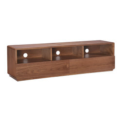 Zuo Modern Contemporary, Inc. - Park West TV Stand Walnut - With its mid-centry aesthetic, the Park West TV Stand has clean lines and warm walnut tones.  It has beautiful drawers with rails and stainless steel handles.  It is a great piece of design.