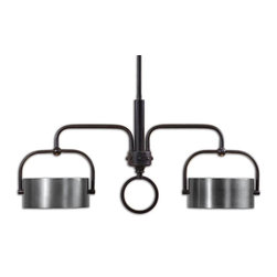 Uttermost - Uttermost Belding 2 Light Kitchen Island Fixture - 2 Light Kitchen Island Fixture belongs to Carolyn Kinder Collection by Uttermost Dark Chocolate Bronze Accented With Lightly Antiqued Brushed Aluminum Drum Shades. Kitchen Island Light (1)