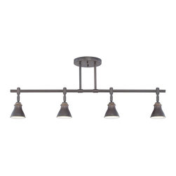Quoizel - Quoizel QTR10054PN Contemporary Ceiling Track Light - This metal shaded fixture is an elegant nod to the past. The classic Americana styling adds a nostalgic flair to your home. It is available in two fabulous finishes.