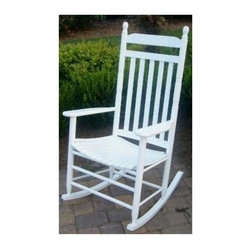 Dixie Seating - Slat Seat Adult Rocker (Green) - Finish: GreenA classic choice that will be an inviting addition to any front porch, this slat seat rocker is well suited to a wide array of design styles. Ideal for enjoying a warm summer evening breeze, the rocker is crafted of solid ash and is available in your choice of different finish options. Classic adult slat porch rocking chair. Made of solid ash hardwood. Made in the USA. Pictured in White finish. Ready to assemble format. Minimum assembly required. Underside is unsanded. 25 in. W x 19 in. D x 46 in H