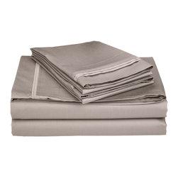 650 Thread Count California King Sheet Set Egyptian Cotton Solid - Grey - 650 Thread Count Egyptian Cotton OVERSIZED California King