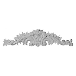 """Ekena Millwork - 23 1/8""""W x 5 7/8""""H x 1 1/8""""P Medium Scroll Center with Scrolls - 23 1/8""""W x 5 7/8""""H x 1 1/8""""P Medium Scroll Center with Scrolls. Our appliques and onlays are the perfect accent pieces to cabinetry, furniture, fireplace mantels, ceilings, and more. Each pattern is carefully crafted after traditional and historical designs. Each polyurethane piece is easily installed, just like wood pieces, with simple glues and finish nails. Another benefit of polyurethane is it will not rot or crack, and is impervious to insect manifestations. It comes to you factory primed and ready for your paint, faux finish, gel stain, marbleizing and more."""