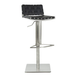 Safavieh - Safavieh Mitchell Gas Lift Barstool X-B1003XOF - The Mitchell Gas Lift Barstool offers stylish comfortable seating that adjusts with the flip of a lever. Its sturdy square base, sleek pedestal and footrest in stainless steel are contrasted seats and backs in basket-woven strips of black bonded-leather.