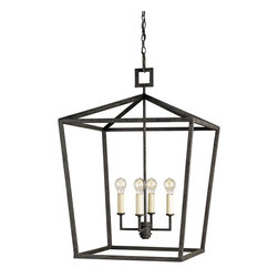 Currey and Company - Denison Lantern, 4 Light - The Denison Lantern is a perfect example of a simple form executed with the purity of a natural material - wrought iron. The hammered metal and the hand-applied Mole Black finish call attention to the importance and beauty of this simple material . The classic uncomplicated shape delivers presence with the strength of the lines. The clean simple lines is reminiscent of design trends of the past. The hand finishing process used on this chandelier lends an air of depth and richness not achieved by less time-consuming methods.