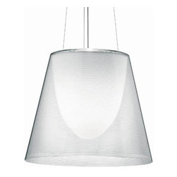 KTribe S3 Suspension Light - %The KTribe S3 Suspension Light by Flos designed by Philippe Starck presents a modern transitional styling with a clean impressive presentation. The KTribe S3 Pendant features a polycarbonate inner diffuser with an opal white finish. Materials include: single support cable and power cord, white ceiling canopy. Flos, iconic Lighting that has changed the concept of illumination itself. Since 1971, Flos has incorporated a strong symbolic appeal and a unique collaboration with the most inventive international designers.