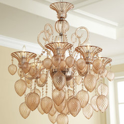 Blush Blown Glass Chandelier Transitional Glamour Murano Light Fixture