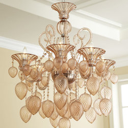 Blush Blown Glass Chandelier Transitional Glamour Murano Light Fixture - Put the finishing touches on a luxurious interior with this chic Blush Blown Glass Chandelier. This piece brings European sophistication to traditional or contemporary designs. With artfully scrolled swooping arms, faceted crystals, and densely filled blown glass drop ornaments in a blush color-- this chandelier looks both modern and glamorous in virtually any space. Brought to you by Cyan Design.
