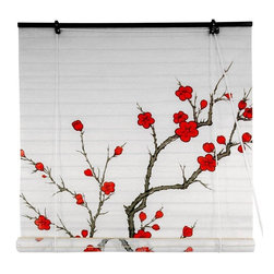 Oriental Furniture - Cherry Blossom Shoji Blind - Capture the ephemeral beauty of the cherry blossom, Japan's time-honored symbol of love and affection. This shoji paper blind will meet many of your decorating needs.