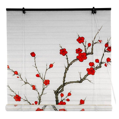 Oriental Furniture - Cherry Blossom Shoji Blinds - (48 in. x 72 in.) - Capture the ephemeral beauty of the cherry blossom, Japan's time-honored symbol of love and affection. This shoji paper blind will meet many of your decorating needs.