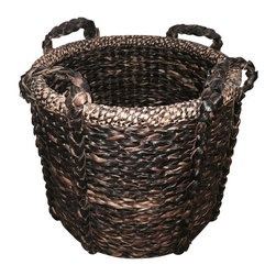 Pre-owned Large Rustic Basket - This dark brown heavy bodied bamboo basket is brought to us by SF Designer Will Wick. A unique hand handcrafted item and an elegant storage piece.