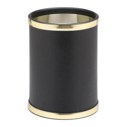 Kraftware - Sophisticates 10 in. Waste Basket in Black w Polished Gold Bands - Round basket. Classic black leatherette elegance. Made in USA. 10 in. Dia. x 12 in. H (1.5 lbs.)Always as appropriate as a formal Tuxedo at a reception.