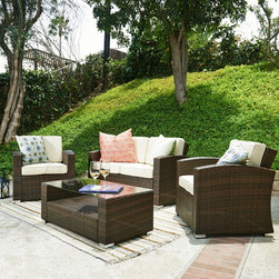 None - Bahia 4-piece Outdoor Wicker Conversation Set - Dress up your outdoor living space with the Bahia four-piece wicker conversation set,featuring soft curves and contemporary appeal. The all-weather cushions provide plush comfort and repel water and moisture for long-lasting durability.