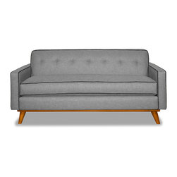 "Apt2B.com - Clinton Apt Size Sofa Grey, Mountain Grey/Coal, 57"" X 34"" X 30.5"" - Style for days! This mid-century style sofa is great for a smaller space and will be the talk of all of your friends with a solid wood base and piping that pops."