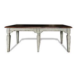 Koenig Collection - Old World Dining Table Manson - Old World Dining Table Manson, Weathered Creams with Hints of Grey and Gold accents with Mahogany Stained Top,