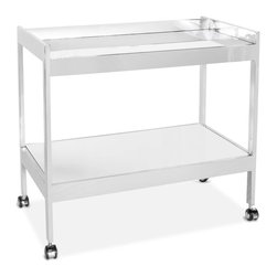 Kathy Kuo Home - Gia Hollywood Regency Silver Mirror 2 Tier Serving Bar Cart - Slow your roll and live in the luxurious moment with a double decker, polished silver serving cart. The mirrored shelves hold everything from plates to ice buckets. Four sturdy legs with nickel-covered wheels allow smooth mobility for delivering your delights to family and friends.